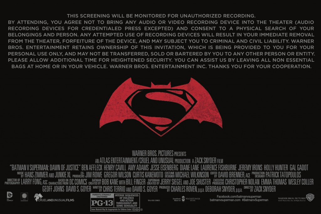 Batman v Superman billing block