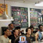 Mitch Albom with DETROIT film cast members Peyton 'Alex' Smith, Nathan Davis Jr., Joseph David Jones, Ben O'Toole, Tyler James Williams, and Ephraim Sykes
